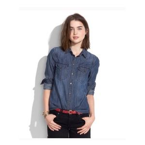 { madewell } blue denim button snap collar shirt